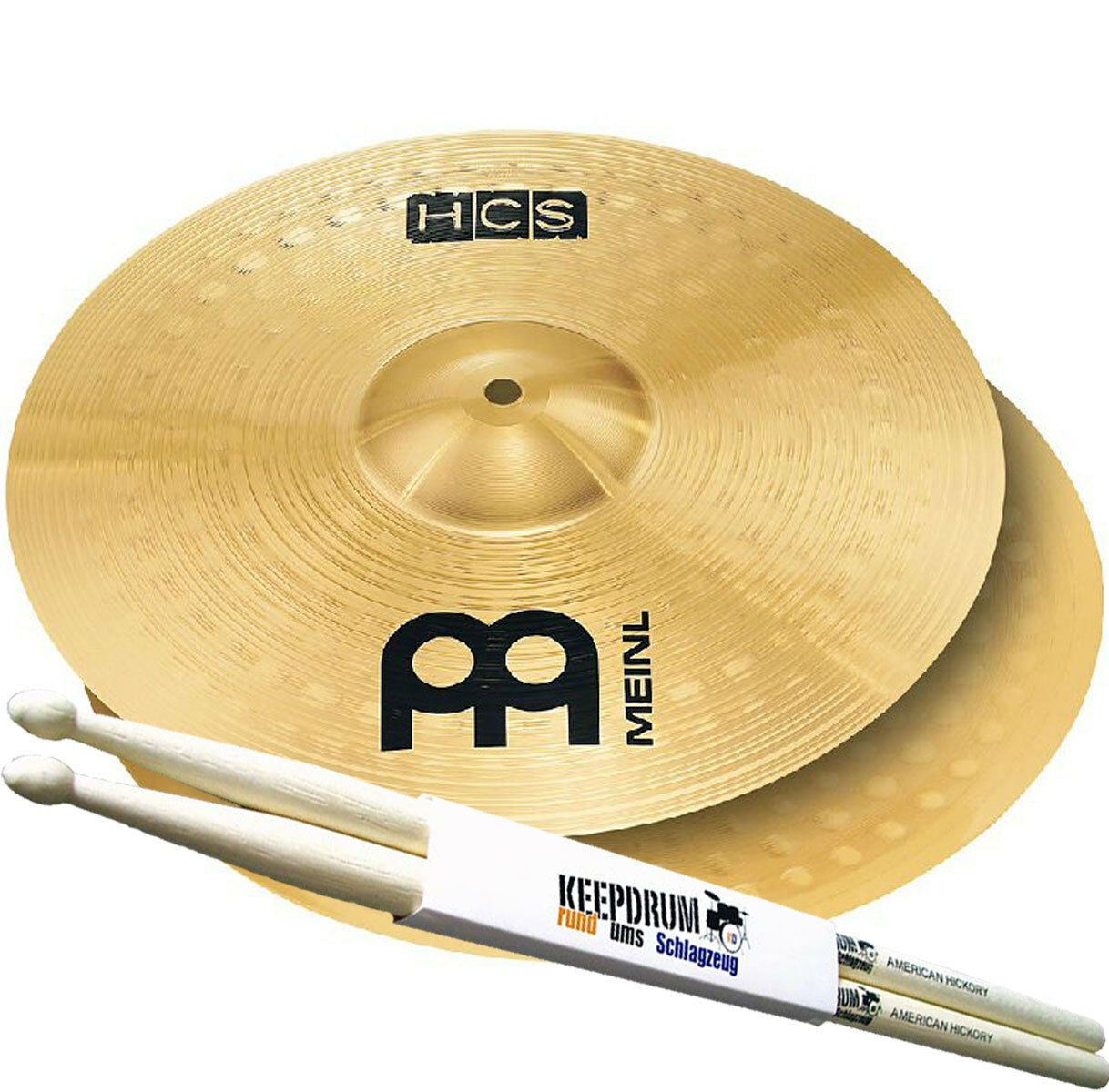 Meinl HCS13H HCS 13 Hi Hat Becken + keepdrum Drumsticks