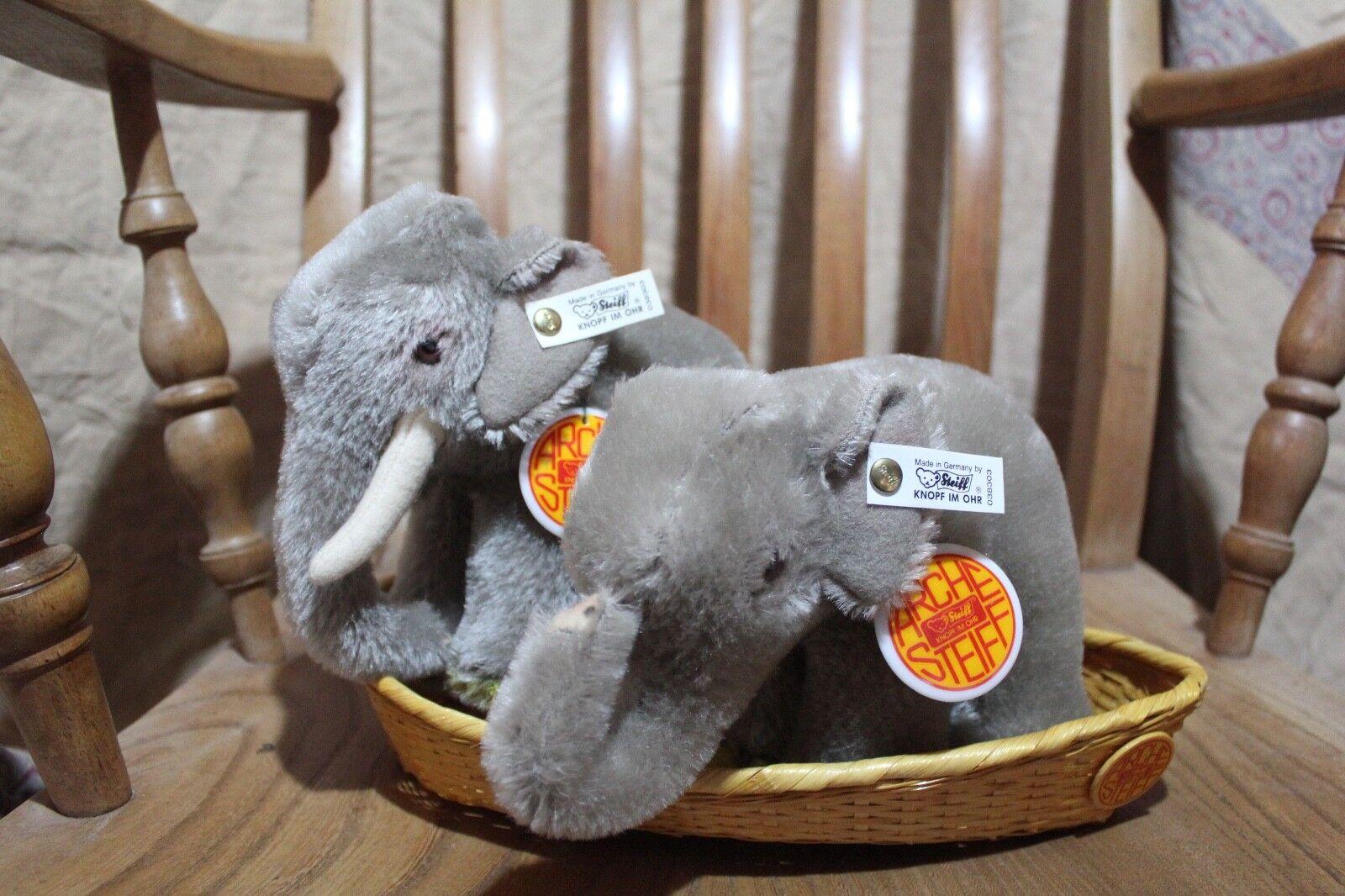 Steiff L'Arca di Noè Elefante Set TAG 038303 IN SCATOLA CON VIMINI BARCA 1992