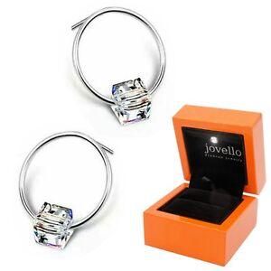 Zirkonia-Kristall-Wuerfel-Cube-Ring-Ohrstecker-aus-925-Silber-LED-Schmuckbox