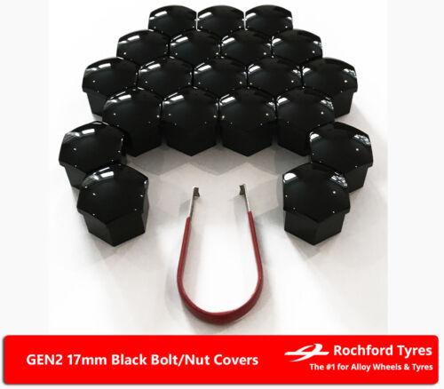 Black Wheel Bolt Nut Covers GEN2 17mm For Skoda Octavia vRS Mk3 13-17