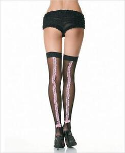 9f82718e456 Image is loading TWO-TONE-Fishnet-Stockings-with-Contrast-Lace-Ruffle-