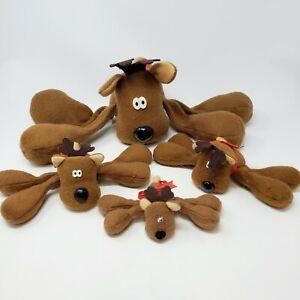 Vintage-Hallmark-Rodney-Reindeer-Large-Small-Set-of-4-Christmas-Floppy-Plush-a9
