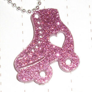 80s Retro Roller Star skate Charm Necklace fancy dress Kitsch Kawaii Rollerskate