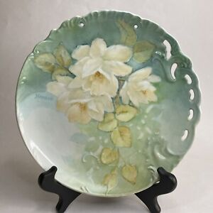 Antique Victorian White Roses Wall Plate Green Glaze Embossed Pierced Signed