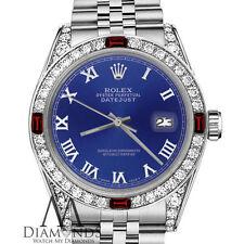 Ladies Rolex 26mm Datejust Blue Color Roman Numeral Dial Ruby & Diamonds Bezel