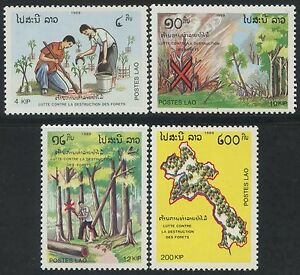 LAOS-N-927-930-Arbres-Foret-TB-1989-Trees-forest-Sc-942-945-MNH