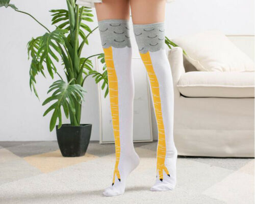 Neue Frauen lustige Hühnerbeine Füße hohe Socken Cartoon Oberschenkel Strümpfe