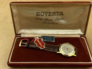 Hover-Vintage-1950s-17-Jewels-swiss-Watch-complete-w-original-Case-Very-Clean