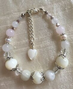*Freedom Tree* Pink Flower Necklace Rose Quartz /& Red /& White Glass Beads