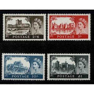 1959-Britain-Castles-And-Effigy-De-The-Rue-4-V-MNH-Unif-351A-354A-Caffaz