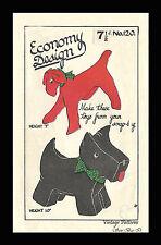 Vintage 1940s patrón de costura economía Diseño Terrier Escocés Perro Juguetes de la segunda guerra mundial &