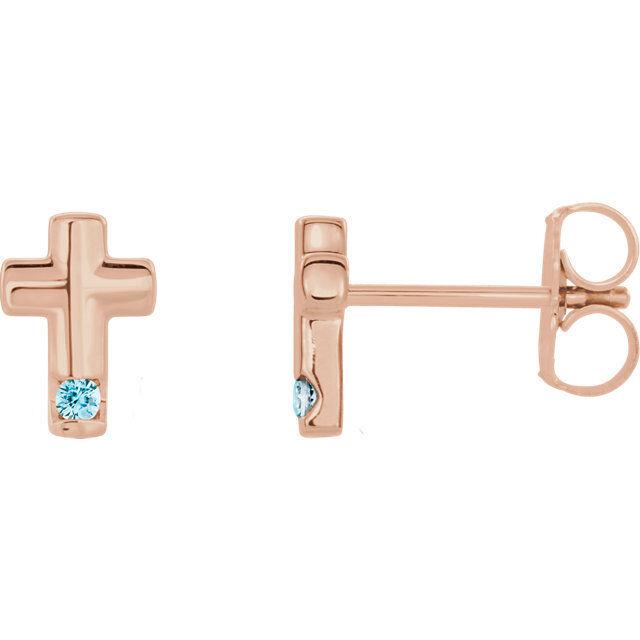 bluee Zircon Cross Earrings In 14K pink gold
