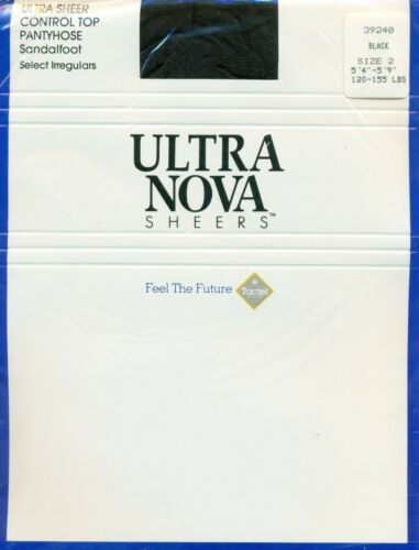 Sandalfoot Black Ultra Sheer Control Top Pantyhose Tights by Ultra Nova Medium