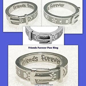 Paw-Print-Belt-Buckle-Ring-Collar-Friends-Furever-Stainless-Steel-Silver-Dog-Cat