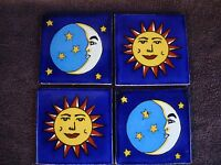 Lot Of 4 Mexican Tile Sun And Moon 4x4, Wall Art, Talavera,