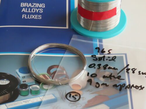 Dia x 10mtre ref:#15 30swg **Soft Solder Wire Lead-Free Type 96S Solid –0.38mm