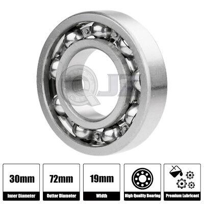 2x 6306-OPEN Ball Bearing Bore 30mm x Outside 72mm x Width 19mm  w// Snap Ring