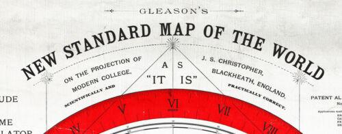 Mapa Terra Plana Gleason/'s 1892 Novo Padrão Mapa Do Mundo Alexander Gleason