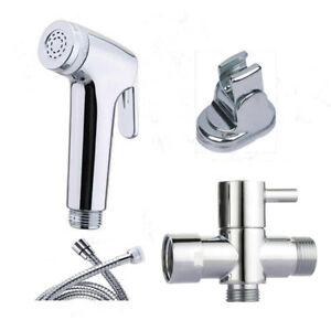 "Chrome Toilet Bidet Shattaf Muslim Shower Diaper Sprayer W//G1//2/"" Size T-adapter"