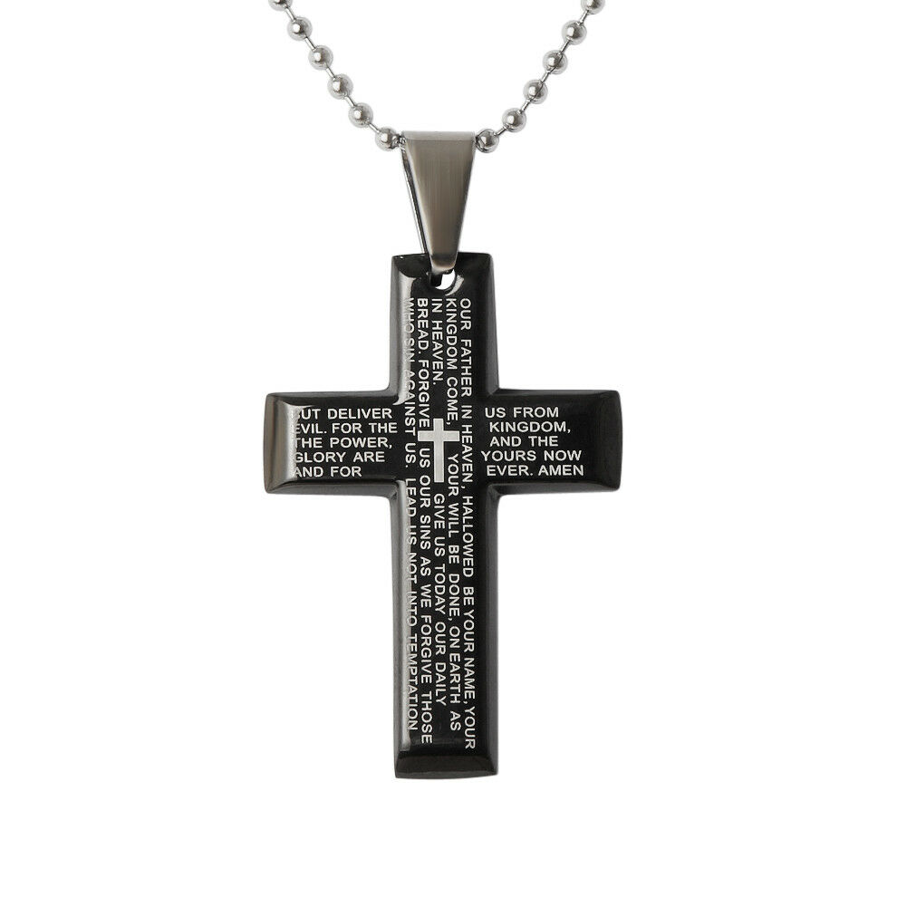 Stainless Steel Silver Pendant Cross Religious Prayers  43x28x3mm