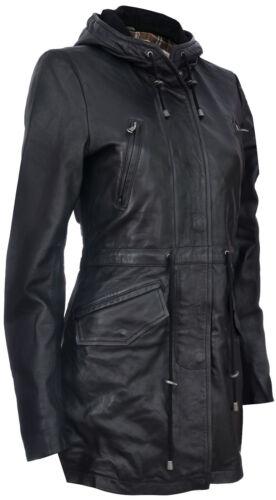Damen Schwarzes Leder mit Kapuze Parker Jacke Multi-Taschen Trenchcoat