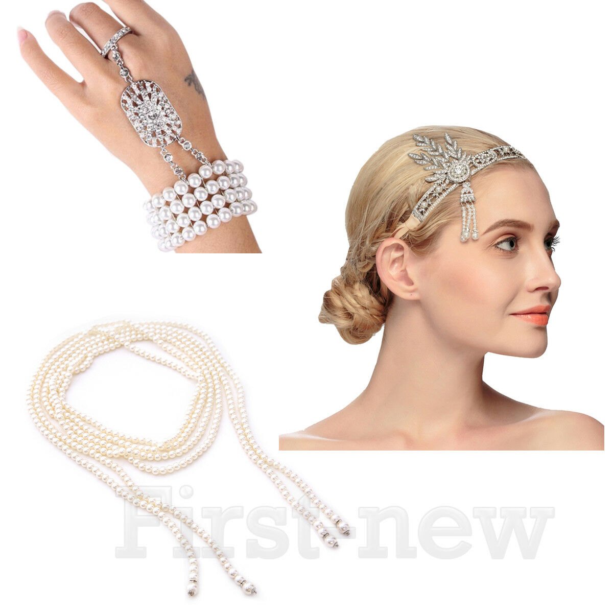 1920s Great Gatsby Headband Necklace Bracelet Ring Sets Bridal Hair Accessories