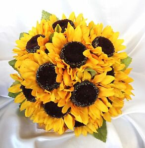Silk sunflower wedding 6 piece package bridal bouquet 2 attendants 3 image is loading silk sunflower wedding 6 piece package bridal bouquet junglespirit Images