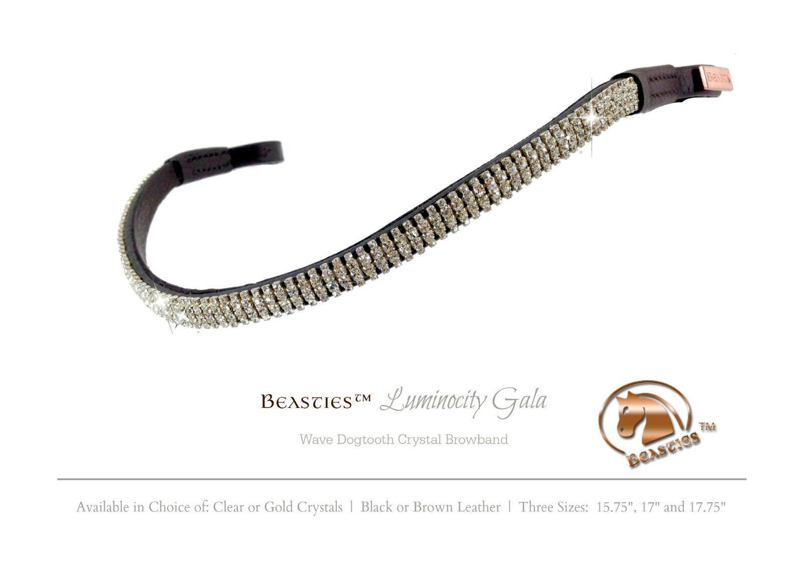 Clear/Blk Luminocity Wave Crystal Crystal Wave Dressage Bridle Browband Größe:OverGröße 17.75