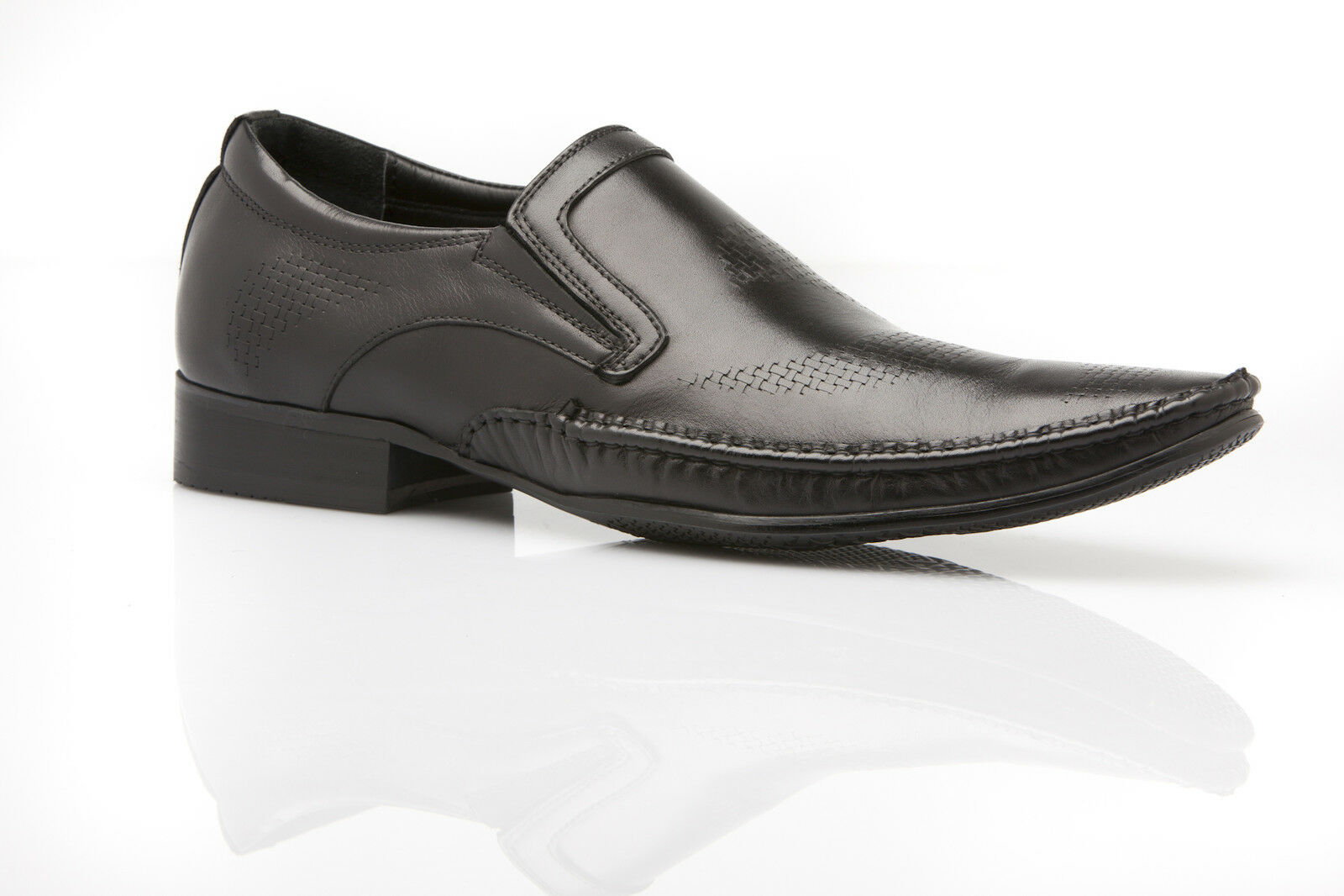 NEW ZASEL MENS DESIGN DRESS BLACK LEATHER SLIP ON SHOES WORK FORMAL CASUAL MEN'S SHOES ON c64a9c