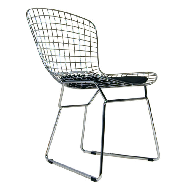 Set of 4 Bertoia Wire Side Chair With Black Cushion