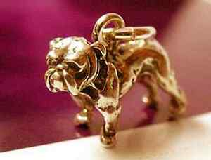 Bulldog 3d Pug Charm Gold Plated Over Real Sterling Silver Dog