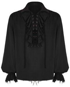 Punk-Rave-Para-Hombre-Pirata-Camisa-Top-Negro-Steampunk-Gotico-poeta-de-coleccion-medieval-con