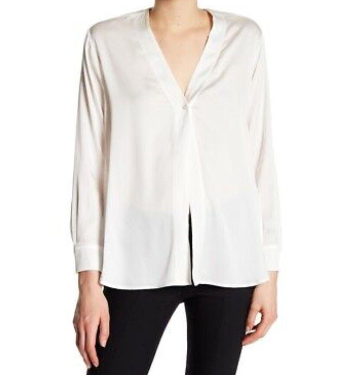 Vince  Satin Silk Blend Blouse Weiß Größe M Medium VX57211719
