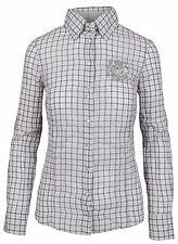 L' ARGENTINA Damen Bluse Shirt Polo Größe 38 - M Baumwolle & Leinen Kariert NEU