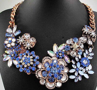 Christmas Gift Pendant  Crystal Bib Statement chunky flower collar Necklace q741