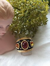 Gold and Black Enamel Costume Ring with Cabochon Red Stone