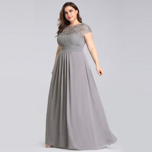 Details about Ever-Pretty US Grey Long Lace Evening Dress Backless  Bridesmaid Dress Plus Size