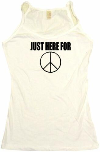 Just Here For Peace Sign Distressed Logo Womens Tee Shirt