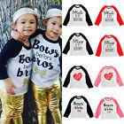 Kids Baby Boys Girls Letter Printed Long Sleeve T-shirt Tops Basic Tees Blouse