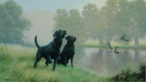 Nigel Hemming WATERSPORTS - BLACK LABRADORS Gun Dogs Shooting Riverside Artwork