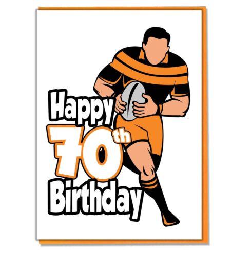 Rugby Silhouette 70th Birthday Card Mens Son Grandson Husband Friend Mate