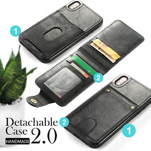 New-Leather-Card-Holder-Cover-Wallet-Case-for-iPhone-8-7-6-6S-Plus-X-Detachable
