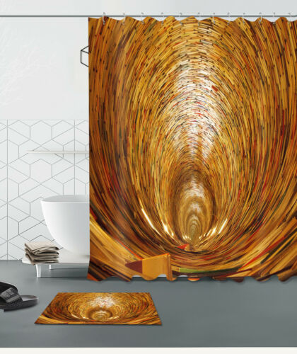 72x72/'/' Circular cave Shower Curtain Fabric Bathroom Waterproof /& Bath Mat 5361
