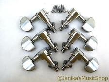 SET OF 6 CHROME VINTAGE MACHINE HEADS ACOUSTIC/ELECTRIC GUITAR STRING TUNERS 3+3