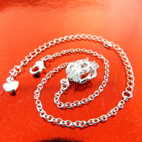 Anklet XL Bracelet Real 925 Sterling Silver S//F Ladies Diamond Simulated Design