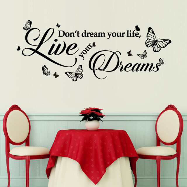 Home Decoration Dream Quote Wall Sticker Mural Decal Paper Art Butterfly