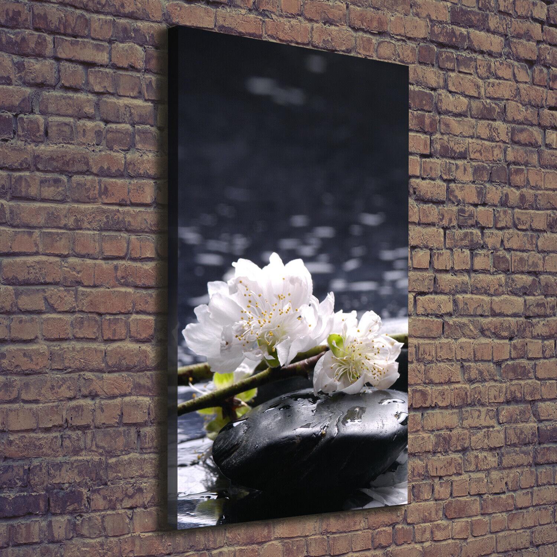 Leinwand-Bild Kunstdruck Hochformat 70x140 Bilder Blaumen und Steine