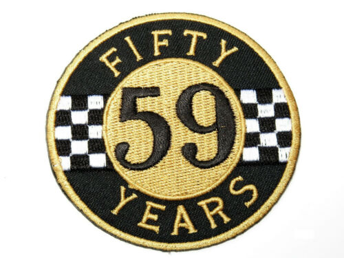 "59 Years Cafe Racer Ton Up Biker Rider Iron On Embroidered Patch 3/""x3/"""