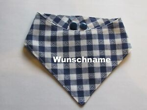 Hundehalstuch-Herzkaro-navi-mit-Namen-S-Halsumfang-34-40-cm-Handarbeit
