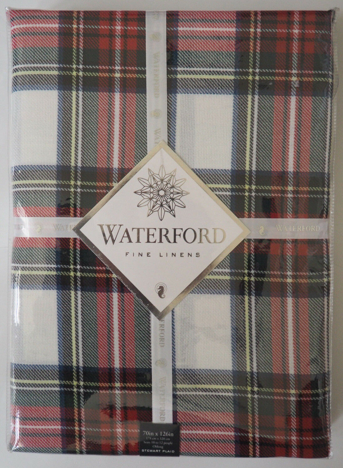 New WATERFORD Steward Plaid Tablecloth - Oblong 70  x 126